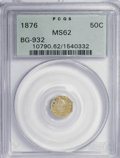 California Fractional Gold: , 1876 50C Liberty Octagonal 50 Cents, BG-932, High R.4, MS62 PCGS.PCGS Population (7/32). NGC Census: (1/4). (#10790). ...