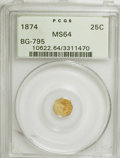 California Fractional Gold: , 1874 25C Indian Octagonal 25 Cents, BG-795, R.3, MS64 PCGS. PCGSPopulation (60/20). NGC Census: (8/7). (#10622). From ...