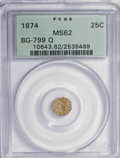 California Fractional Gold: , 1874 25C Indian Octagonal 25 Cents, BG-799Q, High R.5, MS62 PCGS.PCGS Population (2/27). (#10643). ...