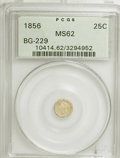 California Fractional Gold: , 1856 25C Liberty Round 25 Cents, BG-229, R.4, MS62 PCGS. PCGSPopulation (40/38). NGC Census: (4/2). (#10414). From The...