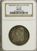 Bust Half Dollars: , 1828 50C Square Base 2, Small 8, Large Letters AU50 NGC. O-118.PCGS Population (21/170). (#6151)...