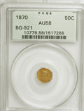 California Fractional Gold: , 1870 50C Liberty Octagonal 50 Cents, BG-921, Low R.5, AU58 PCGS.PCGS Population (7/25). NGC Census: (2/0). (#10779). F...