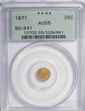 California Fractional Gold: , 1871 25C Liberty Round 25 Cents, BG-841, R.4, AU55 PCGS. PCGSPopulation (6/56). NGC Census: (0/7). (#10702). From The ...