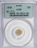 California Fractional Gold: , 1870 25C Liberty Octagonal 25 Cents, BG-713, R.4, AU58 PCGS. PCGSPopulation (3/66). NGC Census: (1/7). (#10540). From ...