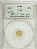 California Fractional Gold: , 1852 25C Indian Round 25 Cents, BG-891, Low R.5, MS63 PCGS. PCGSPopulation (9/23). NGC Census: (2/2). (#10752). From T...