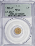 California Fractional Gold: , 1880/70 50C Indian Round 50 Cents, BG-1067, Low R.4, AU55 PCGS.PCGS Population (8/96). NGC Census: (0/10). (#10896). F...