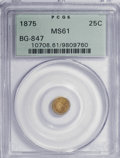California Fractional Gold: , 1875 25C Indian Round 25 Cents, BG-847, R.4, MS61 PCGS. PCGSPopulation (1/60). NGC Census: (0/2). (#10708). From TheH...