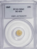 California Fractional Gold: , 1869 25C Liberty Round 25 Cents, BG-830, High R.5, MS62 PCGS. PCGSPopulation (8/6). (#10691). From ...