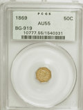 California Fractional Gold: , 1869 50C Liberty Octagonal 50 Cents, BG-919, R.4, AU55 PCGS. PCGSPopulation (13/66). NGC Census: (2/6). (#10777). From...