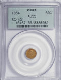 California Fractional Gold: , 1854 50C Liberty Round 50 Cents, BG-431, Low R.5, AU55 PCGS. PCGSPopulation (7/45). NGC Census: (0/3). (#10467). From ...