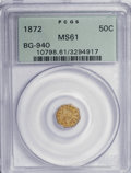 California Fractional Gold: , 1872 50C Indian Octagonal 50 Cents, BG-940, R.4, MS61 PCGS. PCGSPopulation (4/60). NGC Census: (0/13). (#10798). From ...