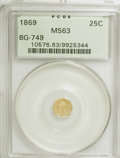 California Fractional Gold: , 1869 25C Liberty Octagonal 25 Cents, BG-749, High R.5, MS63 PCGS.PCGS Population (7/1). (#10576). F...