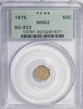 California Fractional Gold: , 1875 50C Indian Octagonal 50 Cents, BG-933, R.5, MS62 PCGS. PCGSPopulation (9/15). NGC Census: (1/2). (#10791). From T...