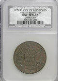 Colonials, 1778-1779 TOKEN Rhode Island Ship Token, Wreath Below, Copper--Corroded--UNC Brown NCS. UNC Details. PCG...