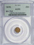California Fractional Gold: , 1870 25C Liberty Octagonal 25 Cents, BG-752, Low R.5, AU55 PCGS.PCGS Population (5/33). NGC Census: (0/5). (#10579). F...