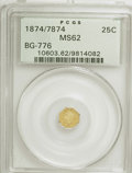 California Fractional Gold: , 1874/7874 25C Liberty Octagonal 25 Cents, BG-776, Low R.5, MS62PCGS. PCGS Population (13/20). NGC Census: (3/2). (#10603...