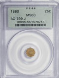 California Fractional Gold: , 1880 25C Indian Octagonal 25 Cents, BG-799J, R.3, MS63 PCGS. PCGSPopulation (27/80). NGC Census: (2/10). (#10636). Fro...