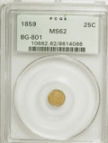 California Fractional Gold: , 1859 25C Liberty Round 25 Cents, BG-801, R.3, MS62 PCGS. PCGSPopulation (22/84). NGC Census: (2/29). (#10662). From Th...