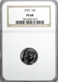 Proof Roosevelt Dimes: , 1952 10C PR68 NGC. NGC Census: (117/12). PCGS Population (29/0).Mintage: 81,980. Numismedia Wsl. Price for NGC/PCGS coin i...