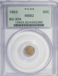 California Fractional Gold: , 1853 50C Liberty Octagonal 50 Cents, BG-304, Low R.5, MS62 PCGS.PCGS Population (14/14). NGC Census: (2/1). (#10424). ...