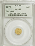California Fractional Gold: , 1872 50C Indian Round 50 Cents, BG-1049, R.4, MS63 PCGS. PCGSPopulation (30/24). NGC Census: (1/4). (#10878). From The...