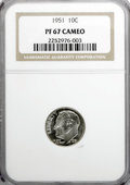 Proof Roosevelt Dimes: , 1951 10C PR67 Cameo NGC. NGC Census: (149/85). PCGS Population(94/6). Numismedia Wsl. Price for NGC/PCGS coin in PR67: $1...