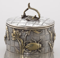 A RUSSIAN MIXED METAL COVERED BOX Ivan Khlebnikov, Moscow, Russia, circa 1890 Marks: (Moscow), 84