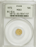 California Fractional Gold: , 1872 50C Liberty Octagonal 50 Cents, BG-914, R.4, MS63 PCGS. PCGSPopulation (22/9). NGC Census: (0/5). (#10772). From ...