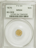 California Fractional Gold: , 1870 50C Liberty Octagonal 50 Cents, BG-908, R.5, MS64 PCGS. PCGSPopulation (11/15). NGC Census: (0/4). (#10766). From...
