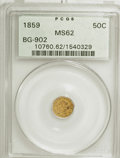 California Fractional Gold: , 1859 50C Liberty Octagonal 50 Cents, BG-902, Low R.4, MS62 PCGS.PCGS Population (29/60). NGC Census: (1/11). (#10760). ...