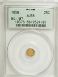 California Fractional Gold: , 1856 25C Liberty Octagonal 25 Cents, BG-107, Low R.4, AU58 PCGS.PCGS Population (8/90). NGC Census: (0/15). (#10376). ...