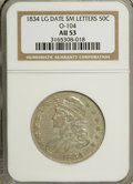 Bust Half Dollars: , 1834 50C Large Date, Small Letters AU53 NGC. O-104. PCGS Population(18/168). (#6165)...
