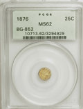 California Fractional Gold: , 1876 25C Indian Round 25 Cents, BG-852, High R.5, MS62 PCGS. PCGSPopulation (3/18). NGC Census: (0/3). (#10713). From ...