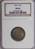 Seated Quarters: , 1875 25C MS64 NGC. NGC Census: (59/48). PCGS Population (62/48).Mintage: 4,293,500. Numismedia Wsl. Price for NGC/PCGS coi...