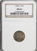 Barber Dimes: , 1902-S 10C MS64 NGC. NGC Census: (9/11). PCGS Population (14/18).Mintage: 2,070,000. Numismedia Wsl. Price for NGC/PCGS co...