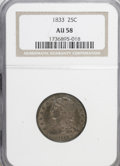 Bust Quarters: , 1833 25C AU58 NGC. NGC Census: (17/44). PCGS Population (6/28). Mintage: 156,000. Numismedia Wsl. Price for NGC/PCGS coin i...