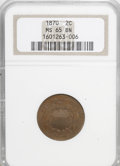 Two Cent Pieces: , 1870 2C MS65 Brown NGC. NGC Census: (12/2). Mintage: 860,250.Numismedia Wsl. Price for NGC/PCGS coi...