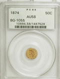 California Fractional Gold: , 1874 50C Indian Round 50 Cents, BG-1055, High R.4, AU58 PCGS. PCGSPopulation (5/43). NGC Census: (0/10). (#10884). Fro...