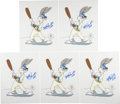 Autographs:Others, Mike Schmidt Signed Bugs Bunny Cels Lot of 5. ... (Total: 5 items)