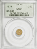 California Fractional Gold: , 1874 25C Indian Round 25 Cents, BG-888, Low R.5, MS61 PCGS. PCGSPopulation (1/36). NGC Census: (0/6). (#10749). From T...