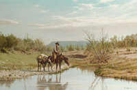 DAVID SANDERS (American, b. 1936) Lone Rider at the Watering Hole, 1970 Oil on canvas 24 x 36 inc