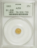 California Fractional Gold: , 1863 25C Liberty Round 25 Cents, BG-820, R.5, AU58 PCGS. PCGSPopulation (6/17). NGC Census: (1/2). (#10681). From The ...