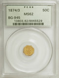 California Fractional Gold: , 1874/3 50C Indian Octagonal 50 Cents, BG-945, High R.4, MS62 PCGS.PCGS Population (12/27). NGC Census: (3/5). (#10803). ...