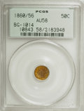 California Fractional Gold: , 1860/56 50C Liberty Round 50 Cents, BG-1014, High R.4, AU58 PCGS.PCGS Population (10/33). NGC Census: (1/3). (#10843). ...