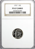 Proof Roosevelt Dimes: , 1957 10C PR67 Cameo NGC. NGC Census: (101/274). PCGS Population(190/148). Numismedia Wsl. Price for NGC/PCGS coin in PR67...