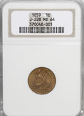 Patterns, 1859 P1C Indian Cent, Judd-228, Pollock-272, R.1, MS64 NGC. PCGSPopulation (9/2). (#11934)...