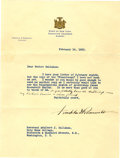 "Autographs:U.S. Presidents, Franklin D. Roosevelt: Typed Letter Signed as New York Governor..-February 16, 1932. Albany, New York. One page. 8"" x 10.5""..."