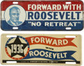 Political:3D & Other Display (1896-present), Franklin D. Roosevelt: Two 1936 License Plate Tags.. -1936.. -Somewear, scratches, and rust, else near fine.... (Total: 2 Items)