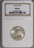 Washington Quarters: , 1934-D 25C Medium Motto MS65 NGC. NGC Census: (127/33). PCGSPopulation (227/71). Mintage: 3,527,200. Numismedia Wsl. Price...