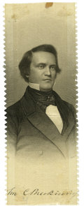 Political:Ribbons & Badges, John C. Breckinridge: A Rare 1860 Silk Campaign Ribbon with Brady Image....